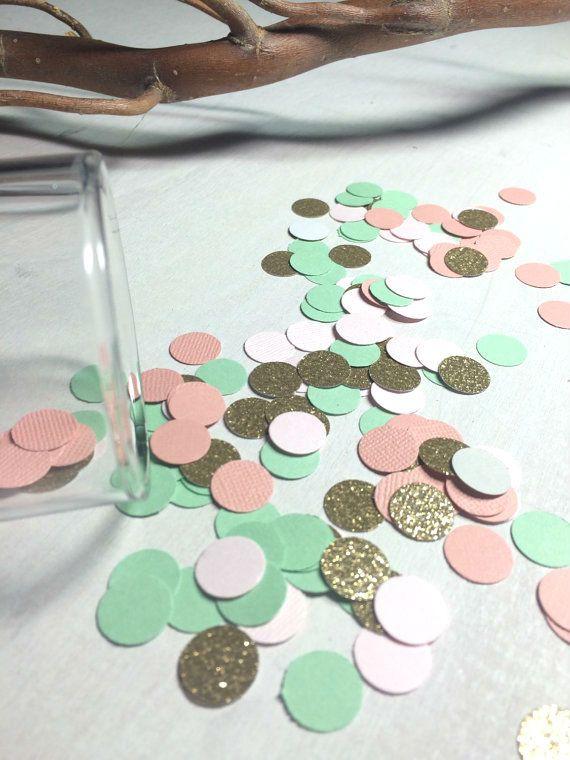 Vert menthe corail et or paillettes confettis  par ConfettiGirls