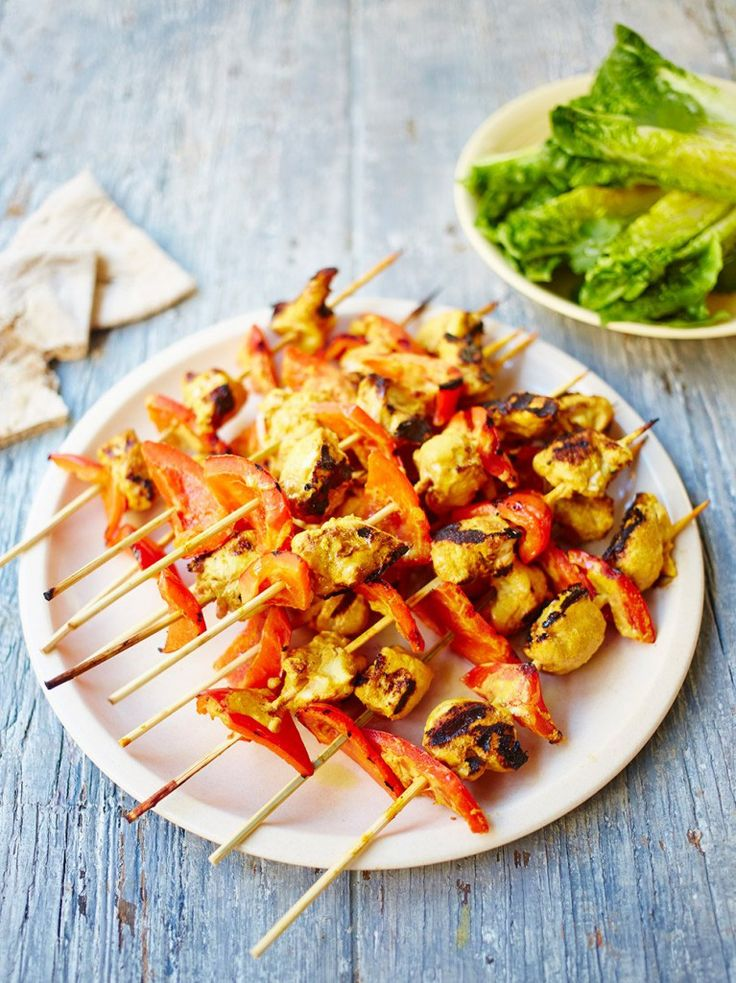 Chargrilled chicken kebabs - These tasty kebabs are perfect on the barbecue, but work really well on a grill, too