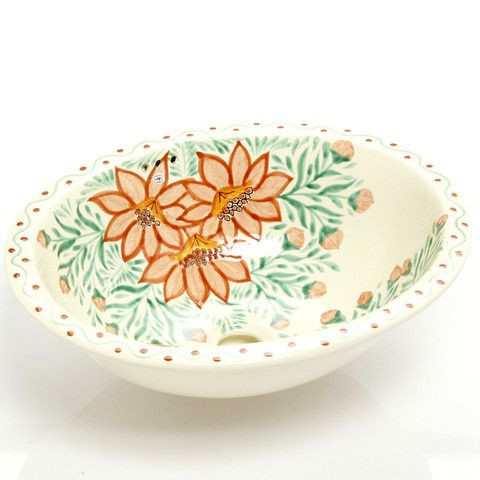 Photo Of Mexican Dita Large Drop In Hand painted Bathroom Basin