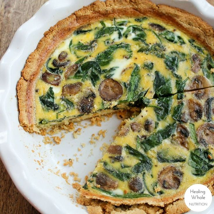 The most delicious healthy quiche! The almond flour crust is gluten and grain free and the entire recipe is dairy free. It's an impressive dish to serve to guests and one of my favorite things to snack on throughout the week.