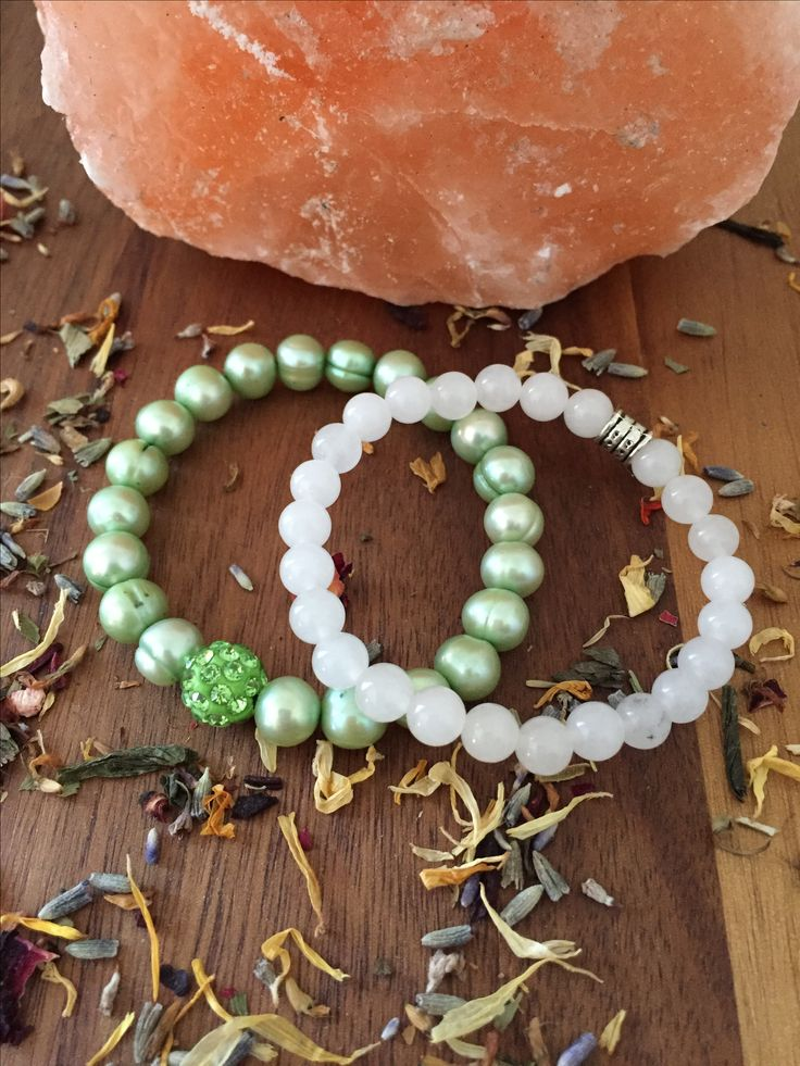 Freshwater Pearls paired with White Jade!