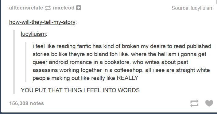 Fanfiction, or why I read mainstream fiction a hell of a lot less. I'm just glad fanfiction writers are gradually being able to bring their original (yet still with that fanfic creativity) into the mainstream.