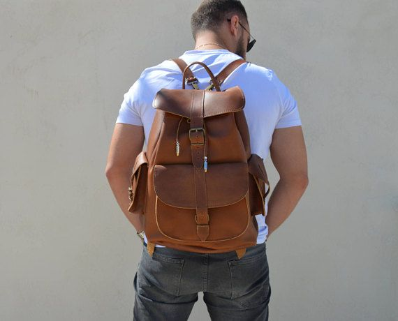 Backpack Men, Leather Rucksack, Brown Leather Backpack, Sportsbag, Made in Greece from Full Grain Leather, EXTRA LARGE.