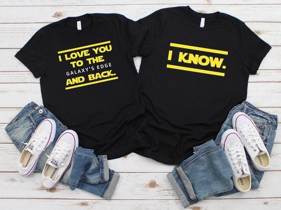 Star Wars Galaxy/'s Edge Mr Mrs Couple Shirts Disney Honeymoon Shirts