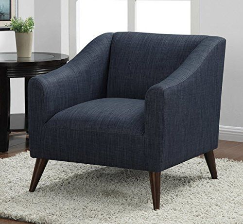 Quincy modern decorative blue linen upholstered living - Modern upholstered living room chairs ...