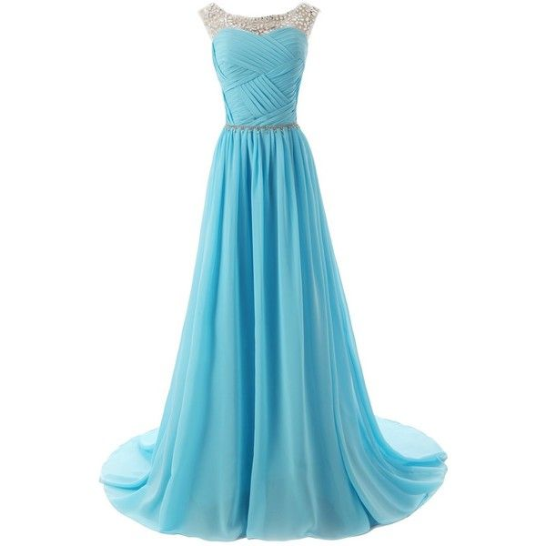 Dressystar Beaded Straps Bridesmaid Prom Dresses with Sparkling... ($60) ❤ liked on Polyvore featuring dresses, gowns, long dresses, blue, beaded prom dresses, blue prom dresses, blue dress, blue ball gown and bridesmaid gowns