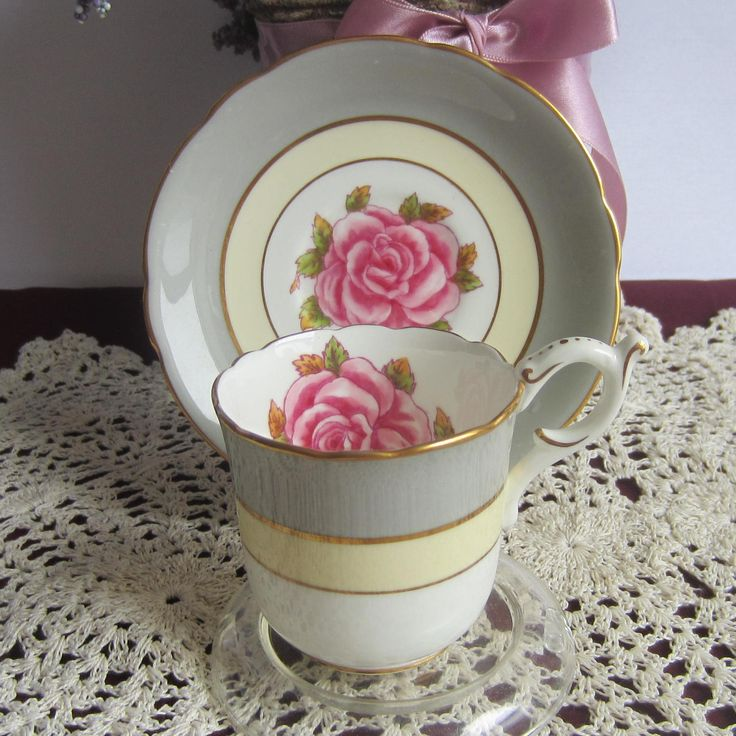 Coalport 9598 Grey and Cream Bands with Pink Rose Bone China Demi-Tasse Tea Cup and Saucer by LauriesFineChina on Etsy