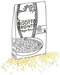 Risottorijst zit in een pak, inderdaad, maar dat is iets anders dan voorgekookte risotto uit een pak.