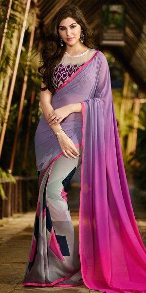 Auspicious Purple And Multi-Color Georgette Saree.