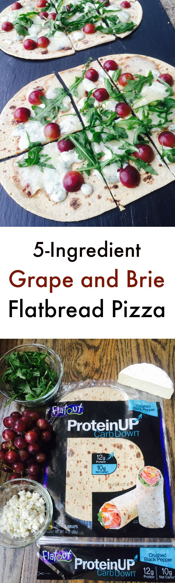 Grape and Brie Flatbread Pizza using High Protein flatbread! (healthy high protein meals dinners)