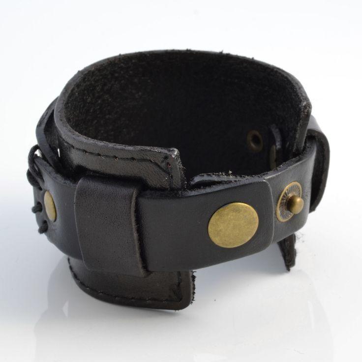 Fekete színű, 2 sávos bőr karkötő - Trendhim