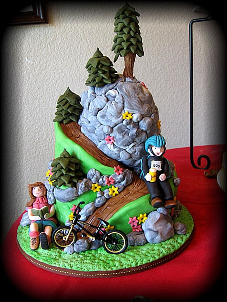 Mountain biking in the sierra 39 s stacked carved butter for Decoration layer cake