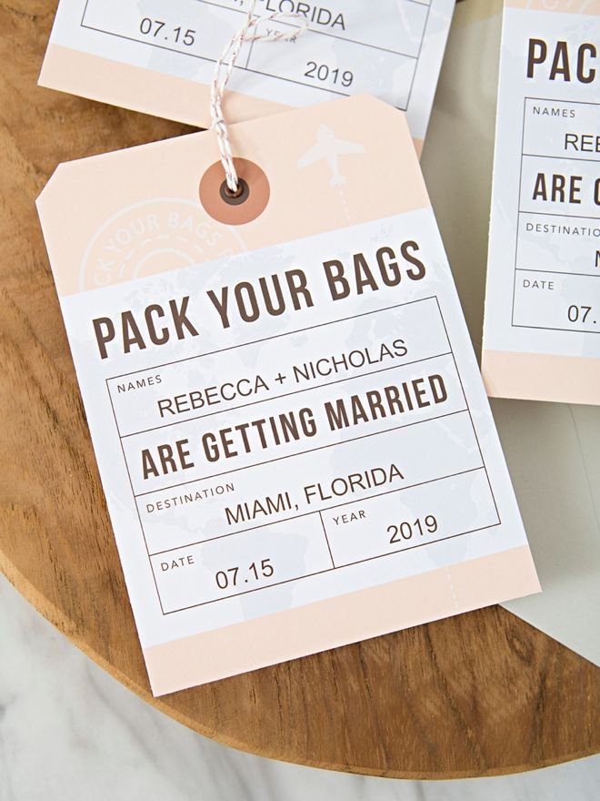 Verrassend DIY Destination Wedding Save the Date Luggage Tags (With images QL-04