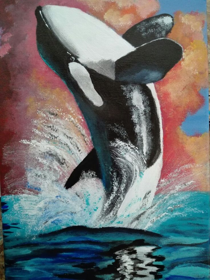 Sell this painting of a n Orca Breaching for R 250.00