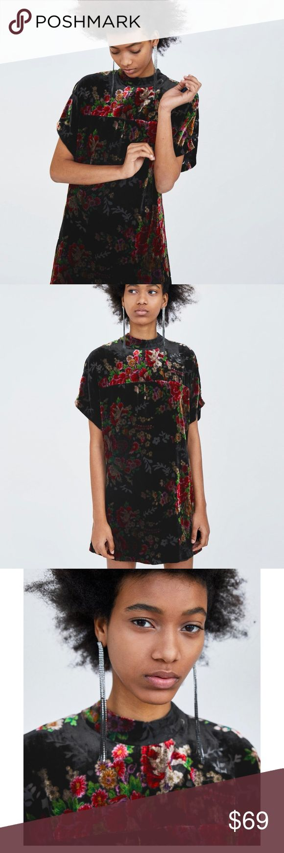 Zara floral velvet dress Zara floral printed black velvet dress. Dress with a high neck and short sleeves. Open back with button fastening on the collar.  Interior lining. Pair with denim or leggings. wear with maxi skirt for a boho chic styling.  Mini tunic dress Zara Velvet Zara Dresses Mini