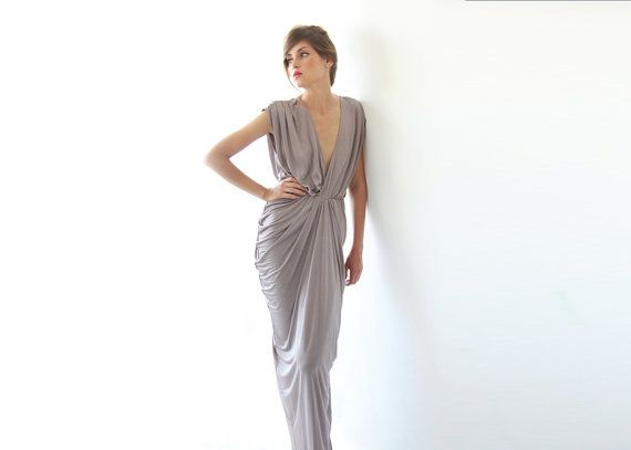 Sexy Maxi Dress, Taupe Dress on Etsy, $162.00