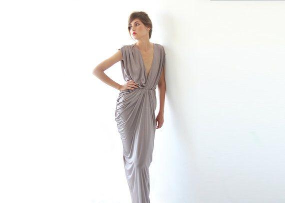 Sexy Maxi Dress Taupe Dress by BLUSHFASHION on Etsy, $162.00