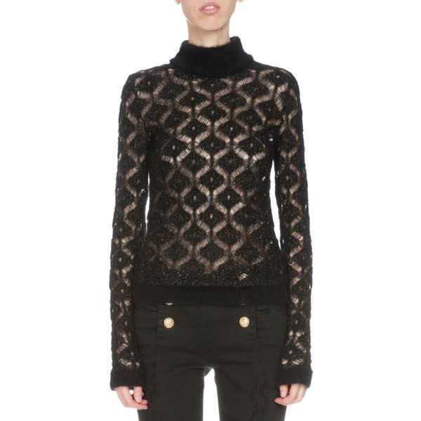 Balmain Long-Sleeve Diamond-Pattern Sweater (17 895 ZAR) ❤ liked on Polyvore featuring tops, sweaters, black gold, balmain, pullover sweater, sweater pullover, long sleeve sweaters and balmain sweater
