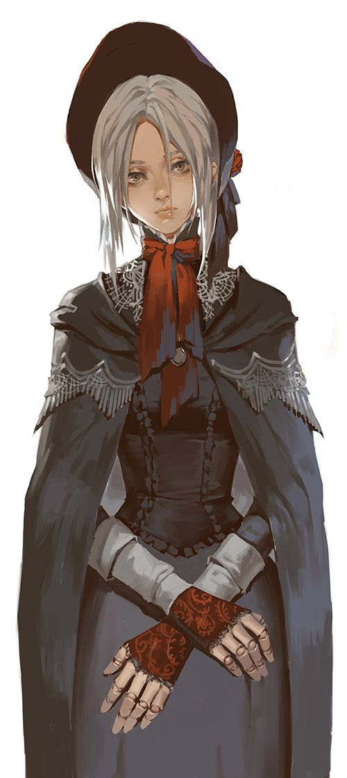 1girl bloodborne bonnet cloak doll_joints expressionless grey_eyes lips long_hair long_sleeves narrator_(nobody) plain_doll silver_hair simple_background skirt solo white_background