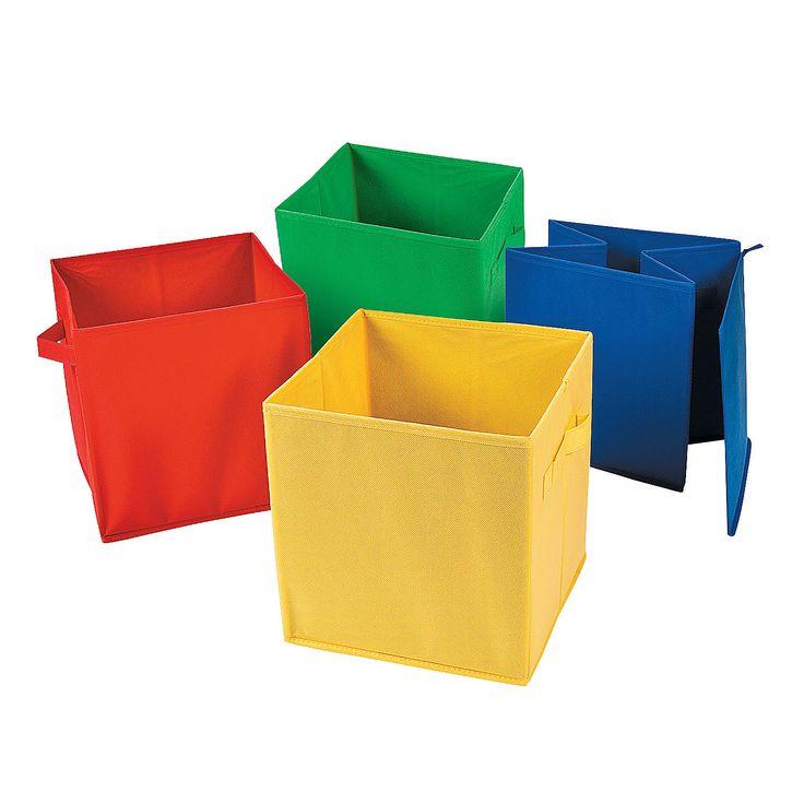 Foldable Storage Bin Set - OrientalTrading.com Love how they fold up!