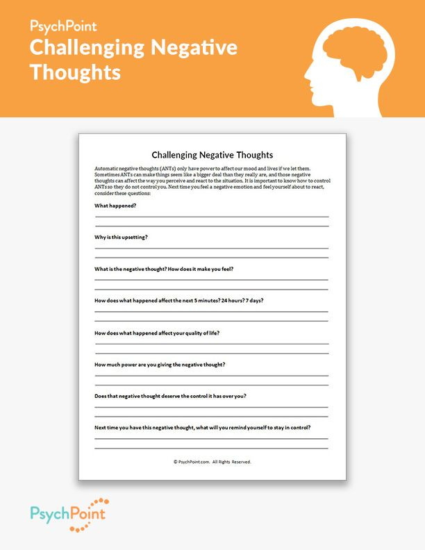 Challenging Negative Thoughts Worksheet Therapy Worksheets Cbt