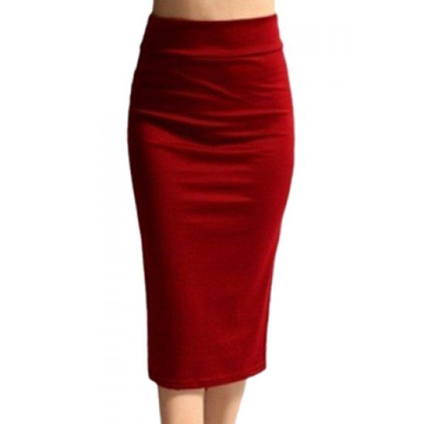 $9.35 Work Style High-Waisted Solid Color Women's Midi Skirt