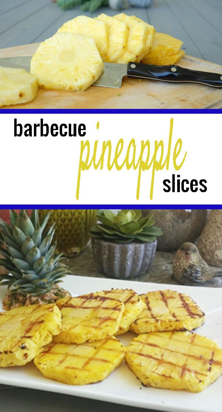 The key to grilling a fresh sliced pineapple is to leave the core in until after it's grilled. | grilled pineapple recipe | how to grill pineapple | healthy fruit recipes | fruit recipe ideas | how to barbecue pineapple | barbecued pineapple recipe | recipes using pineapple || Whole Sisters