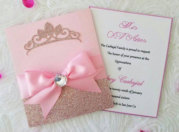 Invitación rosa princesa por Lupitacortes en Etsy …