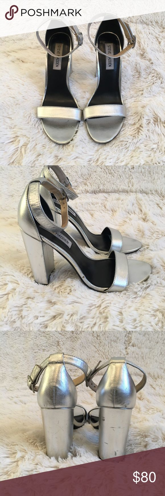 Steve Madden Silver Block Heels Good condition. Shoes have many skuffs in heels and sides  (shown in photo) please make sure to look closely at photos.  Heel height 4 1/4 inches Steve Madden Shoes Heels