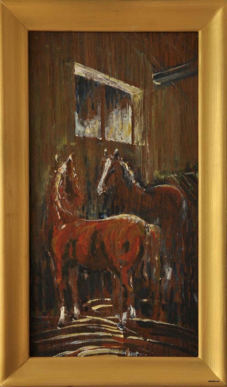 """Dwa konie"", ""Two horses"" 30 x 50 cm"