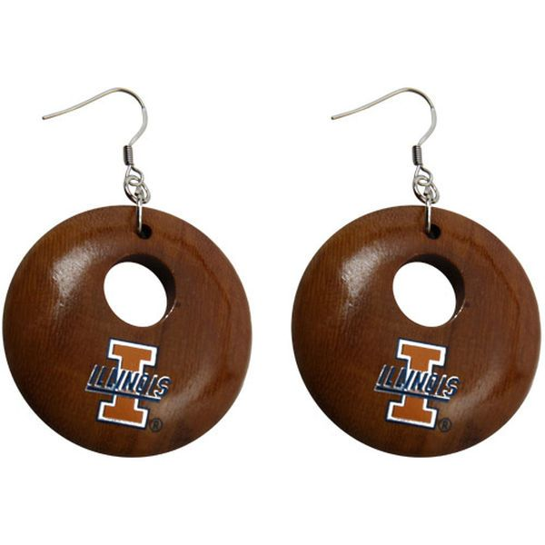 Dayna U Illinois Fighting Illini Round Wooden Earrings - $5.99