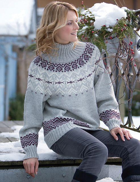 Ravelry: Modern Icelandic Sweater pattern by Topp Frechverlag, knitted of Alpaca yarn