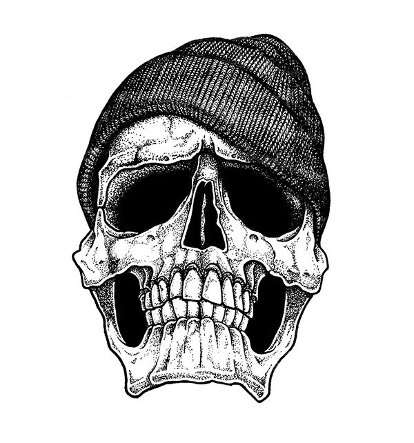 The skull with a beanie by Carl Bédard, via Behance