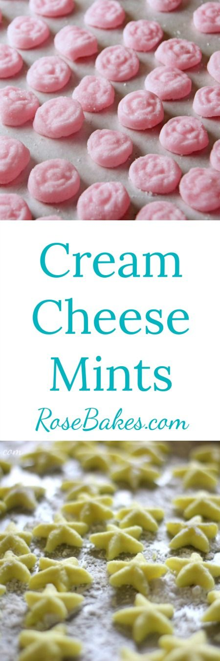 Cream Cheese Mints by RoseBakes.com | These mints would be perfect for a baby shower, bridal shower, wedding…you name it!    They'd even make perfect favors if packaged in tiny bags or boxes!