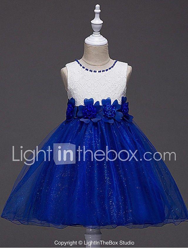 124229d00 vestido de bola corto   mini vestido de niña de flor - cuello de joya sin  mangas de organza con rebordear por ydn 2017 - €40.4
