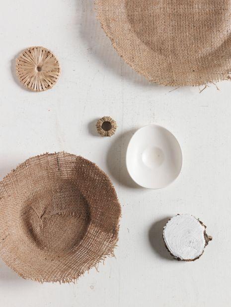 Beautiful textural neutrals, interiors still life styling by Lara Hutton, photographed by Jason Loucas #jasonloucas #larahutton #hessian #lhobjects #styling #stilllife