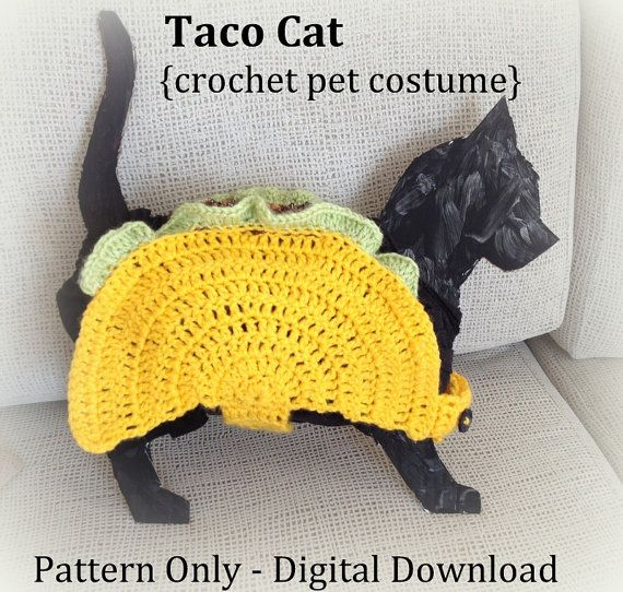Update: This listing is just for the PDF pattern for my taco cat design. The finished costume can be purchased here: https://www.etsy.com/listing/294127399/taco-pet-costume-taco-cat-costume-taco?  Thanks to the popular meme, we all know that taco cat spelled backwards is taco cat. So just in time for Halloween, Im introducing my taco cat crochet pattern.  Included in this listing is a PDF file with both written instructions and photographs for each row.  This pattern ...
