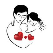 가족 심장 아이콘, 기호 부모는 작은 아이 벡터 일러스트 레이 션을 껴 안고 사랑 스러운 젊은 부부의 스케치 — 스톡 일러스트 #127107712