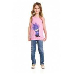 Майка для девочки с миньоном розовая