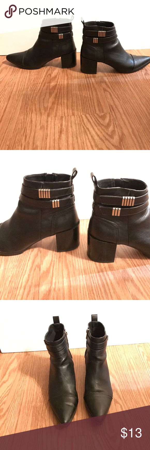 Forever 21 Women's Black Heeled Boots (10) Minor signs of wear on heels and near inner ankle on the exterior (see images). Still in great condition. Wide heel with pointed front. Zippers on inner ankle. Faux black leather. Forever 21 Shoes Ankle Boots & Booties