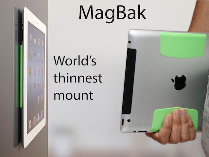 MagBak - The Ingenious Minimalist iPad Mount http://coolpile.com/gear-magazine/magbak-the-ingenious-minimalist-ipad-mount/ via CoolPile.com - $24 -  Cool, Fridge Magnets, Gifts For Her, Gifts For Him, iPad, iPad Mount, Silicone
