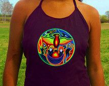 indígena huichol no águila psychedelic de la camisa superior de mujeres hechos a mano tanque de goa impresión camiseta negra activa