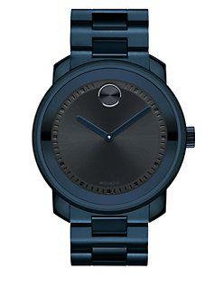 Movado - Bold Blue IP Stainless Steel Bracelet Watch