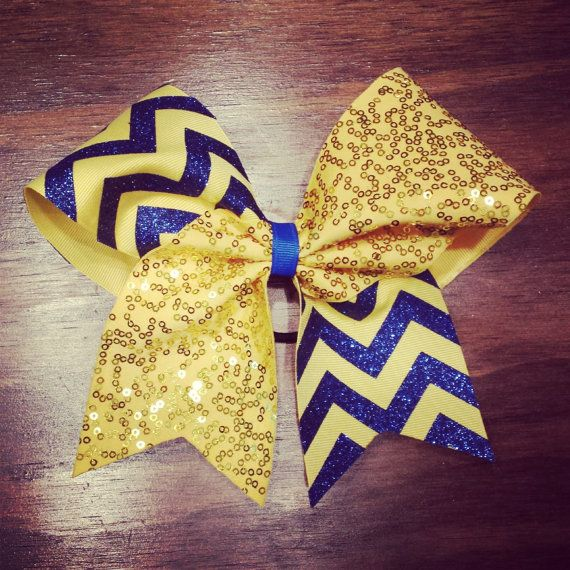 yellow gold sequins and royal blue glitter chevron by bragabitbows. Explore more products on http://bragabitbows.etsy.com