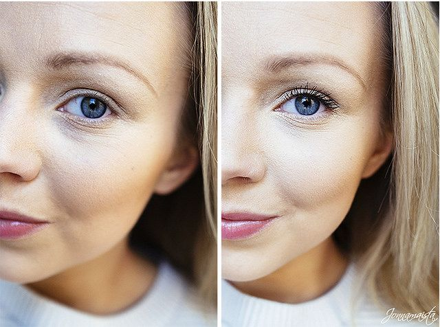 Before and after. Blogger Jonnamaista wearing our new Lumene True Mystic Volume Mascara. #mascara #lumene