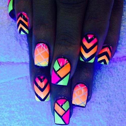 Glow in the Dark Nail Art – Chevron, Patterns