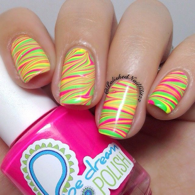 Nail Art Store @whatsupnails Watermarbling done using Pure Color 7 watermarble tool from whatsupnails.com