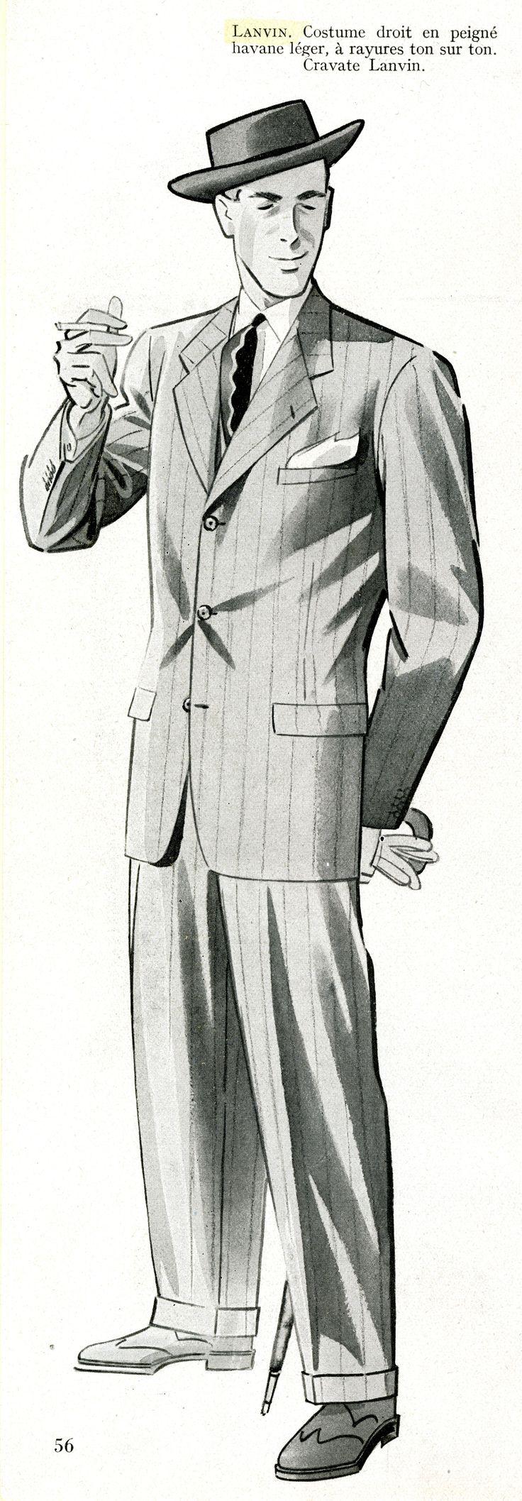 Costume droit en peigné havane à rayures ton sur ton et cravate Lanvin, 1948 © Patrimoine Lanvin. #Lanvin125