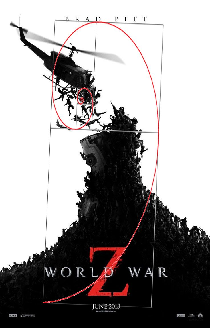 Poster design golden ratio - World War Z Poster With Golden Ratio
