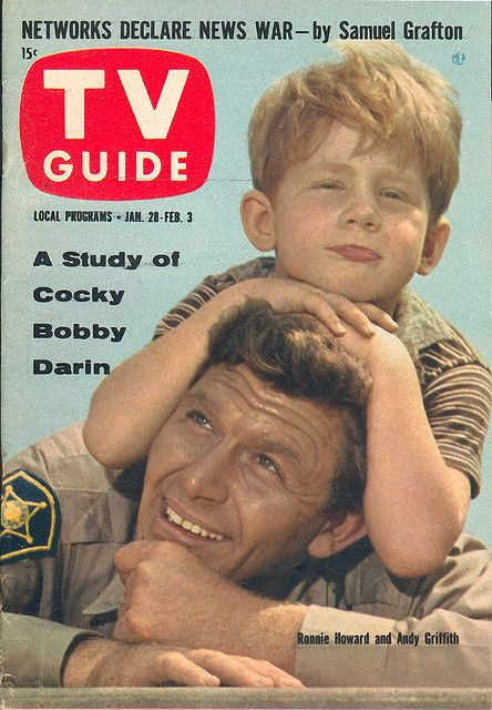 "January 28, 1961. Andy Griffith and Ronnie Howard of CBS's ""The Andy Griffith Show.""  Note Bobby D's Name!"